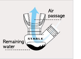 Large purge chamber Air channel stays clear when water remains in tube.